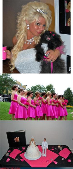 Barbie themed wedding,barbie wedding,Bling,cheesy wedding photos,Crazy Brides,Dreamcake,fashion is my passion,Funny Wedding Photo,hair extensions,hot pink bachelorette dresses,small dog,small wedding cake,tacky bachelorette dresses,themed wedding cake,tiara,Wedding Themes,wtf