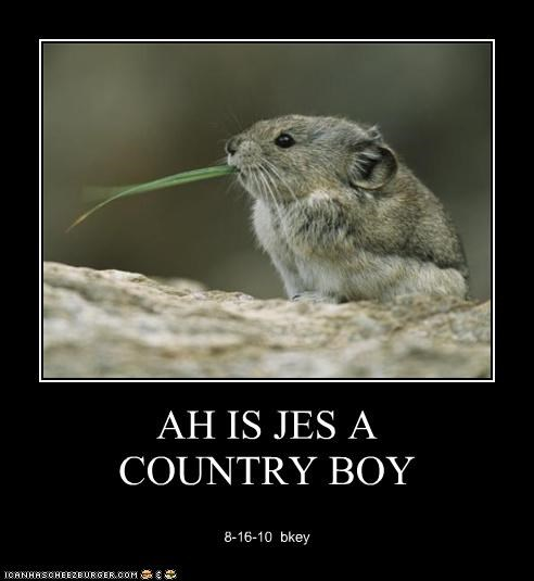 AH IS JES A  COUNTRY BOY