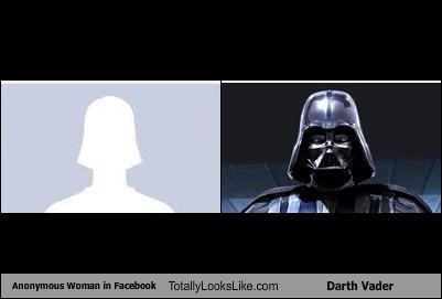 anonymous woman,darth vader,facebook