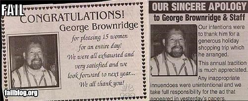 apology congratulations failboat newspaper poorly worded - 3870281216
