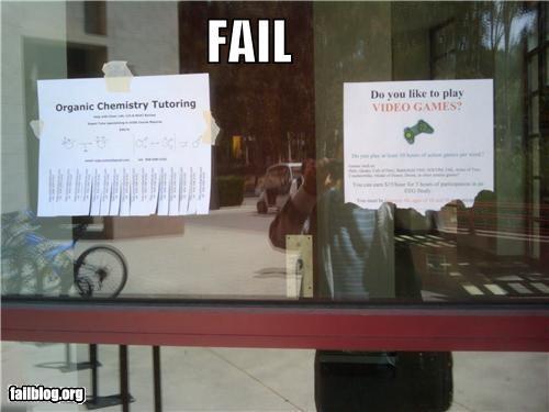 failboat organic chemistry priorities school signs tutoring video games - 3870284544