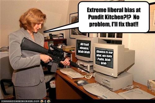 Extreme liberal bias at Pundit Kitchen?!? No problem, I'll fix that!! Obama is our idol, we hate Palin, blah blah All hail obama, blah blah