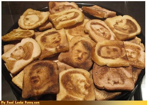 art bread burned celeb face hitler image toast