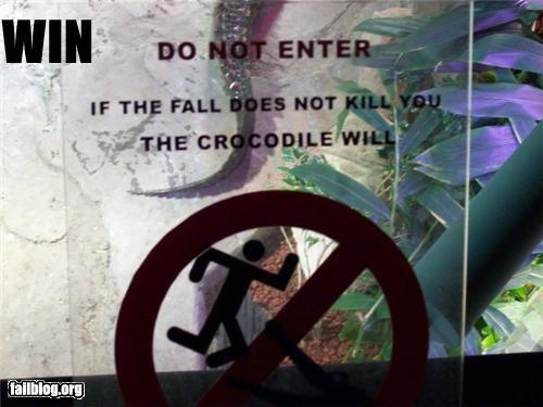 crocodile failboat g rated signs warnings win zoo - 3873918720