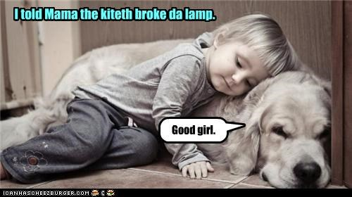 golden retriever good girl lying mama sleeping the cat did it toddler - 3875569152