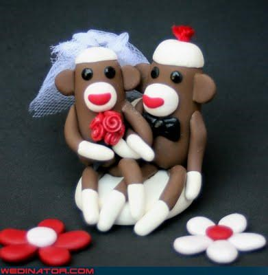 adorable cake topper,bride,bride and groom sock monkeys,cute wedding cake topper,Dreamcake,funny wedding photos,groom,sock monkey wedding toppers,sock monkeys,were-in-love,Wedding Themes