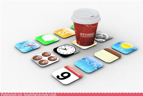 apple apps coasters iphone Kitchen Gadget - 3876643840