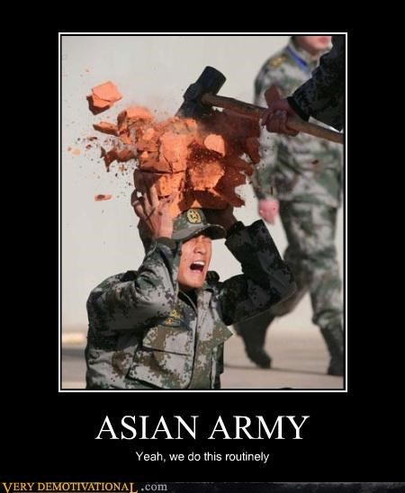 army asians brick extreme facepalm FAIL pain Sad sledgehammer Terrifying training