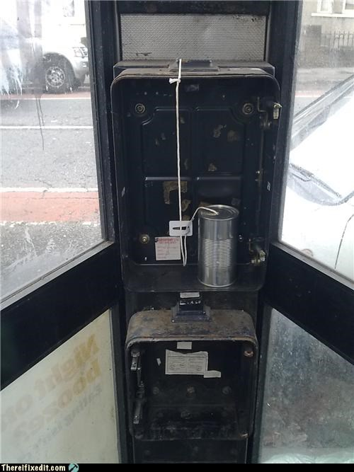 phone,phone booth,string,tin can