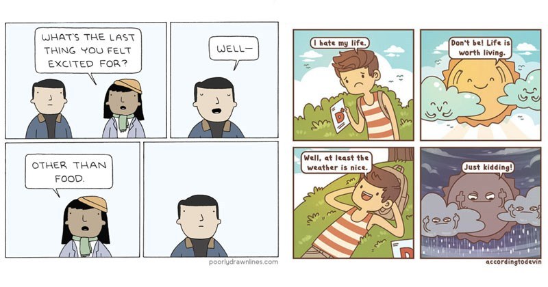 Funny web comics about life, dating, animals, relationships.