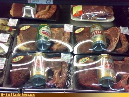 beer,beer can,can,drink,meat,meat and beer,package,raw meat,red meat,steak,steak and beer
