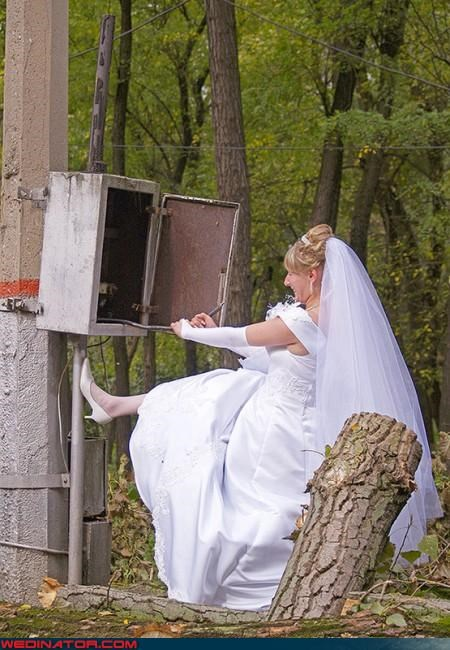 bride complications,bride in the woods,Crazy Brides,electric slide,electricity wedding,fashion is my passion,funny bride picture,funny wedding photos,technical difficulties,wtf