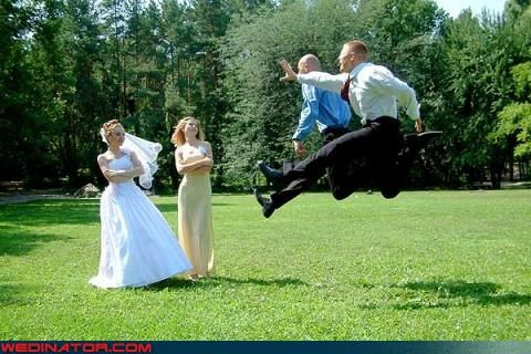 bride cant-reach-you crazy groom funny groom picture funny wedding photos groom jumping through air jumping for joy stop in the name of love stopping time technical difficulties were-in-love wedding party Wedding Themes wtf