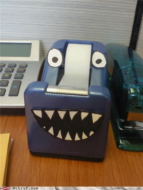 anthropomorphic awesome co-workers not boredom cartoon eyes creativity in the workplace creepy cubicle boredom cute decoration depressing hungry for souls imaginary friend lil monster personification scotch tape sculpture so lonely tape