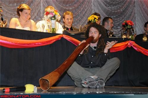 bride,didgeridoo player at the wedding,didgeridoo wedding,fashion is my passion,funny wedding photos,groom,hippie,hippie wedding musician,surprise,technical difficulties,Wedding Themes,wtf,wtf is this
