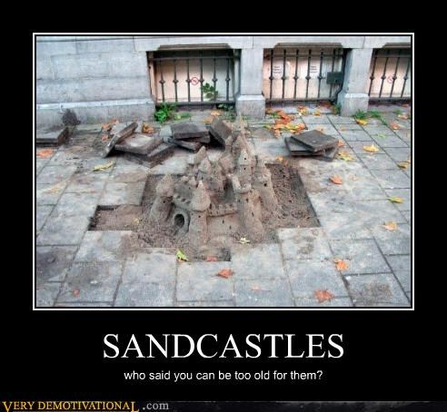 old grown ups,sandcastle