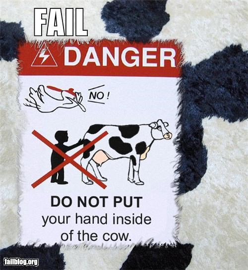 animals cows failboat gross inside of signs warnings - 3884099584