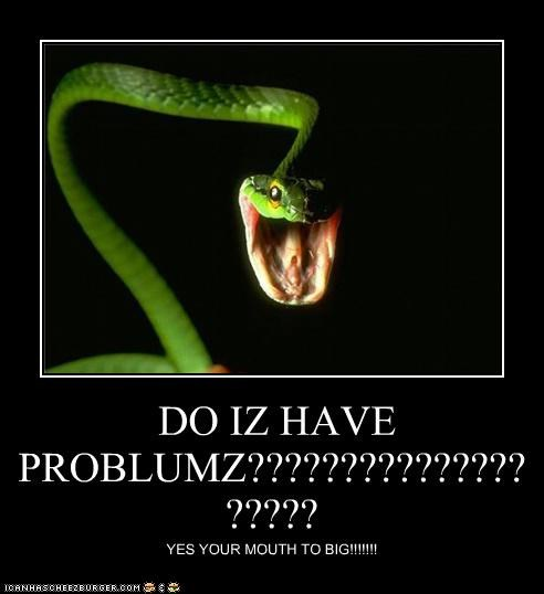 DO IZ HAVE PROBLUMZ???????????????????? YES YOUR MOUTH TO BIG!!!!!!!
