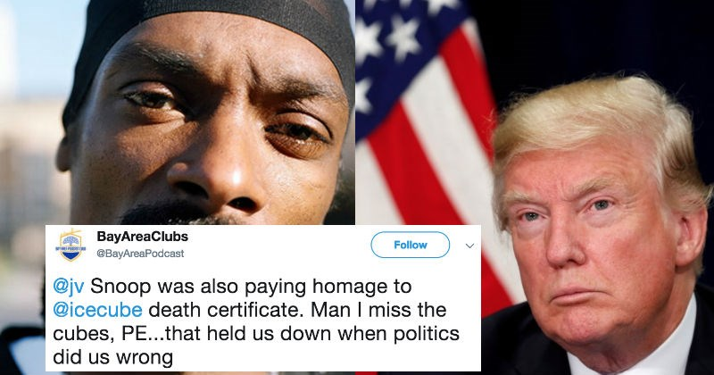 People are at war on Twitter over Snoop Dogg's album cover that has Trump's dead body on it.