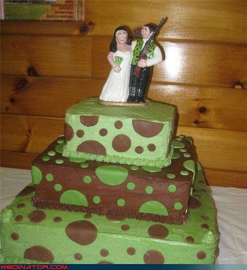 bride,camo,camo polka dots,camouflage,camouflage wedding,camouflage wedding cake,Dreamcake,fashion is my passion,funny wedding photos,groom,groom with a rifle,hunter wedding,miscellaneous-oops,technical difficulties,ugly wedding cake,were-in-love,Wedding Themes,wtf