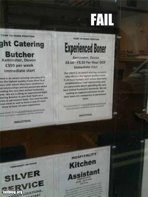 butchers,failboat,innuendo,job titles,postions,signs