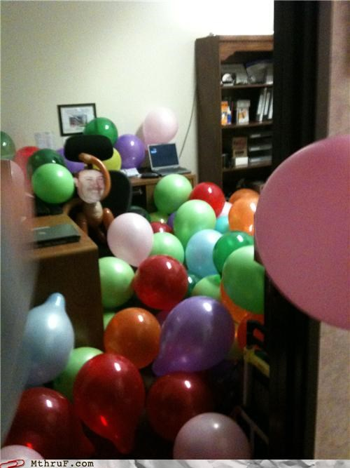 awesome co-workers not Balloons balloons are awful boredom cubicle boredom cubicle prank dickhead co-workers dumb mess monkey prank punkd pwned screw you sculpture trash unoriginal wasteful weird wiseass - 3890222848