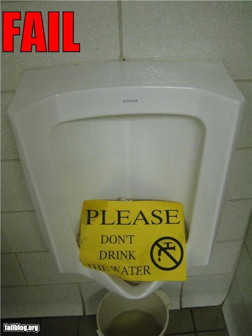bathroom,drinking water,failboat,gross,signs,that-cant-be-healthy-for-you,urinals
