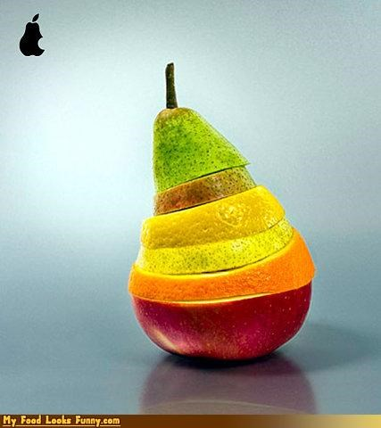 apple computer fruit fruits-veggies mac macintosh pear slices technology - 3891522048