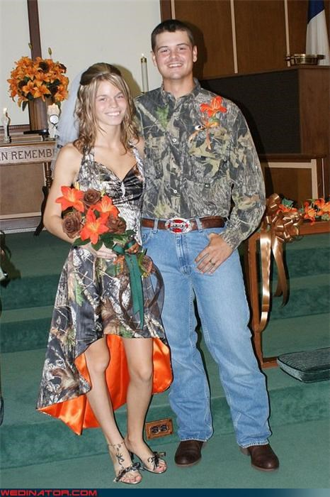 camo bride camo groom camouflage Crazy Brides crazy groom fashion is my passion funny bride picture funny groom picture funny wedding photos redneck redneck wedding tacky wedding dress were-in-love Wedding Themes white trash wedding wtf