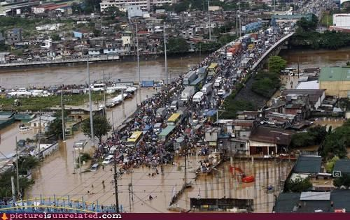 cars,flood,OverKill 9000,traffic,Traffic Jam,wtf