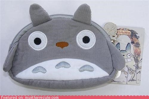 accessory bag coin purse corduroy cute-kawaii-stuff grey money totoro - 3896217856