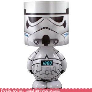 alarm clock,clock,cute-kawaii-stuff,figurine,geeky,lamp,mp3,Music,nerdy,Office,Starwars,stormtrooper