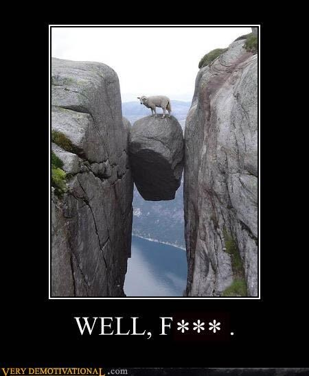 anthropomorphizing,danger,goats,mountains,rocks,swearing,Terrifying