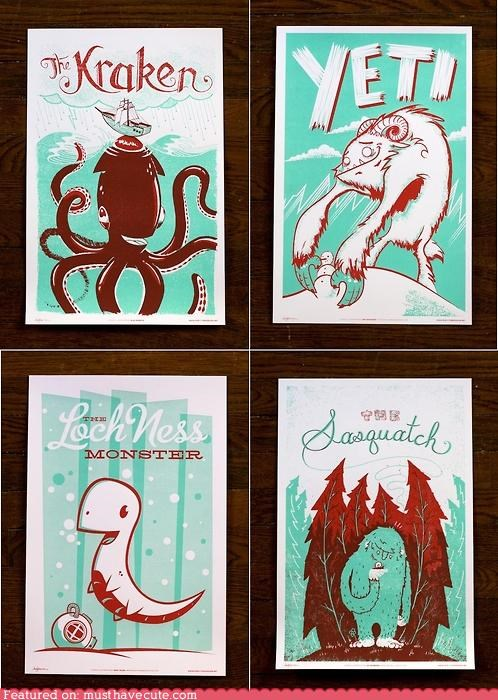 art,Cute Monster Posters,Nessie