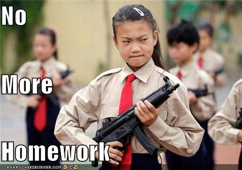 funny girls guns kids lolz school weapons wtf - 3898572032