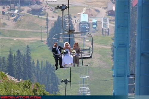 bride,bride makes a grand entrance,bride on a ski lift,fashion is my passion,funny wedding photos,getting married on top of a mountain,ski lift,unique wedding entrance,Wedding Poll