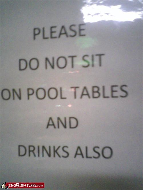 drinks pool signs warnings