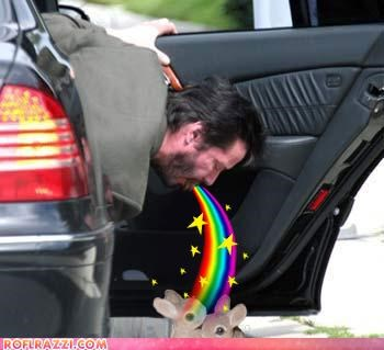 bunny,keanu reeves,meme,rainbows,vomit