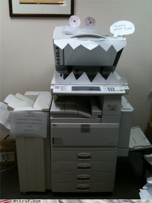 art boredom creativity in the workplace cubicle boredom decoration equipment gizmo hardware laser printer mess monster office equipment print printer scary scary equipment sculpture Terrifying