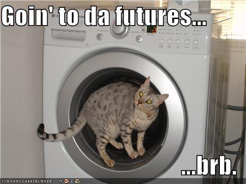 brb caption cat future time travel washing machine - 3903125760