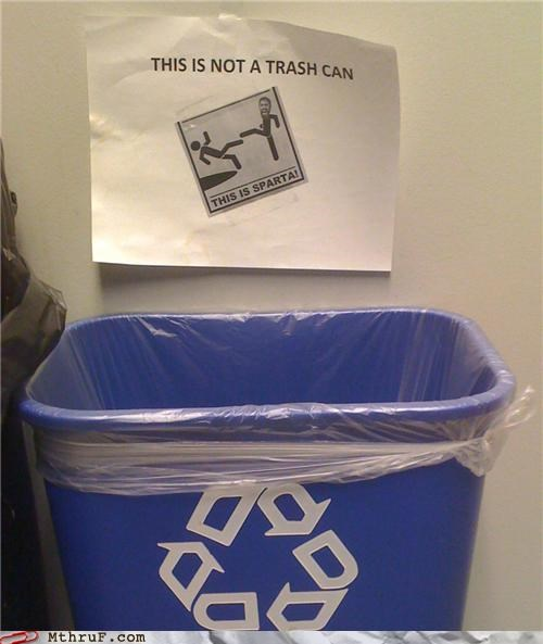 300 basic instructions bin creativity in the workplace cubicle boredom decoration derp dumb kick meme movie reference paper signs quote recycle recycling recycling bin sass signage sparta this is sparta trash can trashcan violence wiseass wit - 3906164480