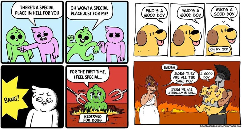 Funny comics about being in hell, the devil, demons, satan, beelzebub, hades, god of death.