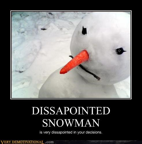 disappointed winter snowman