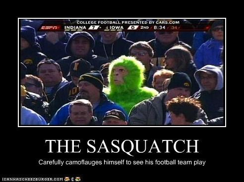 THE SASQUATCH Carefully camoflauges himself to see his football team play