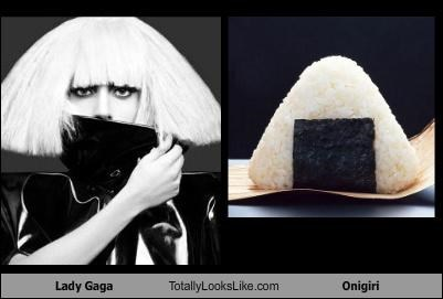 food,hair,lady gaga,onigiri,sushi