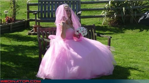 cotton candy,Crazy Brides,fashion is my passion,funny wedding photos,Julia Allison,pink wedding dress,poufy pink wedding dress,tacky dress,ugly wedding dress,wtf