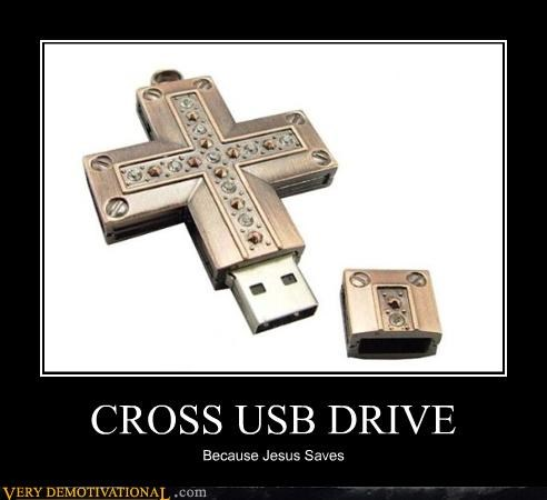 christianity cross good computing skills Hall of Fame jesus puns Pure Awesome religion technology USB - 3912175360