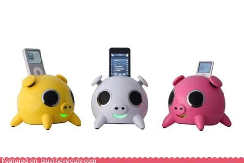 animal,gadget,ipod dock,Music,pig,speakers