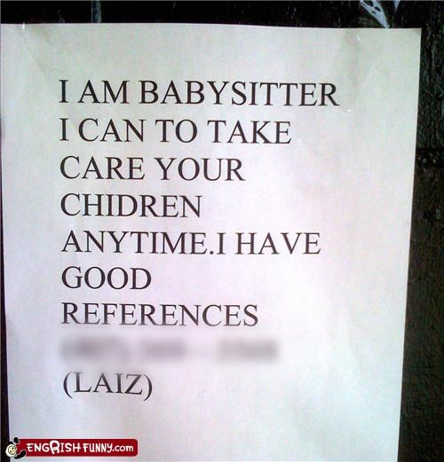 babysitter,engrish,sign