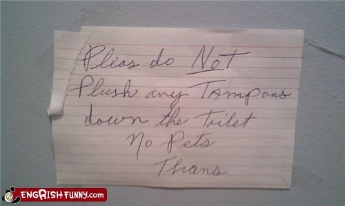 handwritten pets signs tampons toilets what
